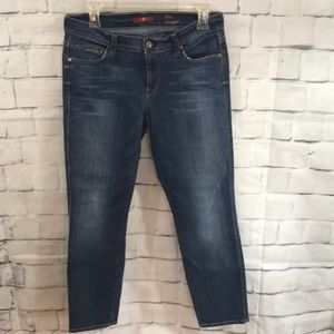 7 For All Mankind Slim Straight Cropped Jeans 30